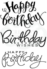 "Woodware ""Big Birthday Words"" stamp set"