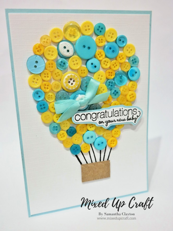 Button Hot Air Balloon Card
